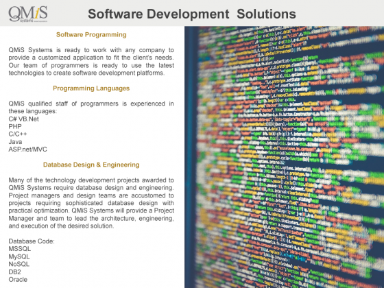 QMiS Software Development | Section 508 Compliance | Video Production